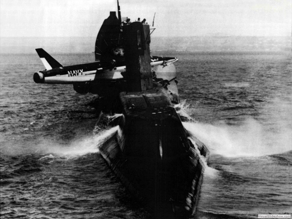 USS Grayback (SSG-574) making ready to launch her Regulus cruise missile 1958.