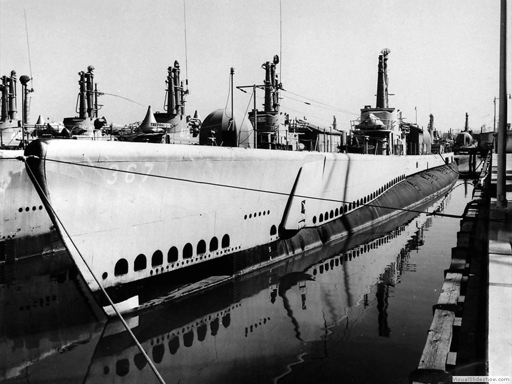 USS Icefish (SS-367) in the Mare Island Reserve Fleet on 13 October 1948